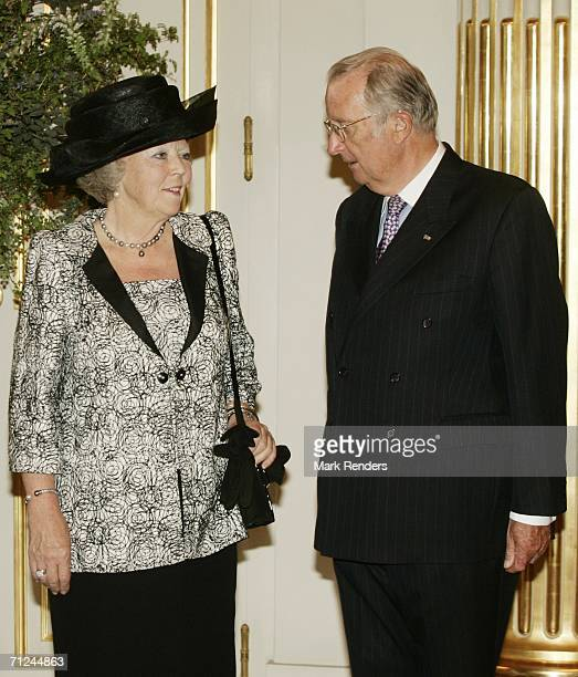 Dutch Queen Beatrix and King Albert pose for a photo at the Royal Palace during a 3day visit by Queen Beatrix on June 20 2006 in Belgium Brussels