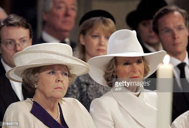 Dutch Queen Beatrix and Princess Irene attend the funeral service for Prince Bernhard the father of Queen Beatrix at the Nieuwe Kerk in Delft near...