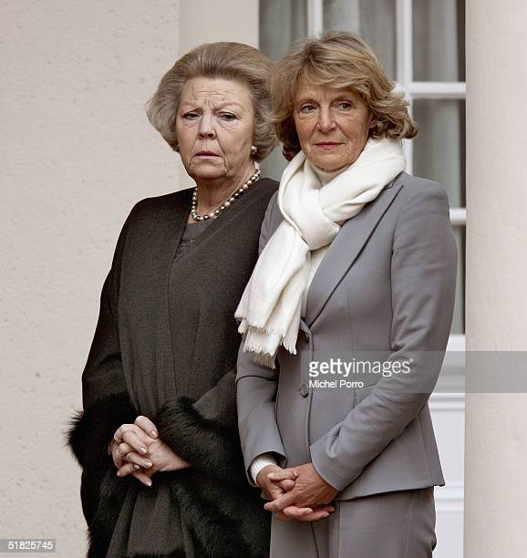 Dutch Queen Beatrix and Princess Irene wait for the coffin of their father Prince Bernhard at the Noordeinde Palace on December 5 2004 in The Hague...