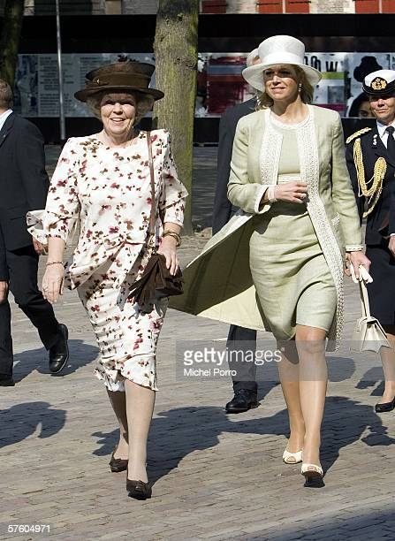 Dutch Queen Beatrix and Princess Maxima arrive for the Four Freedoms Awards ceremony on May 13 2006 in Middelburg The awards were presented to...