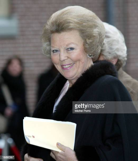 Dutch Queen Beatrix arrives for the Christening ceremony of Princess Eloise Sophie Beatrix Laurence daughter of Princess Laurentien and Prince...