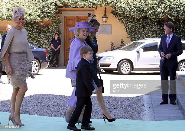 Dutch Queen Beatrix arrives together with Princess Annemarie Gualtherie van Weezel for the wedding of her niece Princess Maria Carolina of...