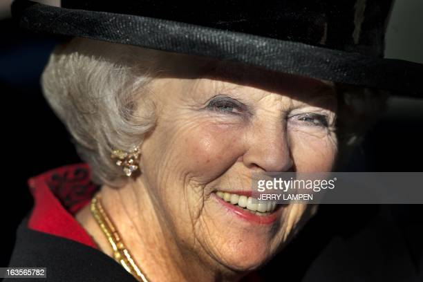 Dutch Queen Beatrix attends the celebration of the 50th anniversary of the European School Bergen in Bergen The Netherlands on March 12 2103 The...