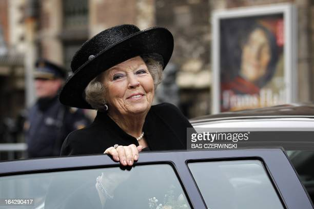"""Dutch Queen Beatrix gets into a car after she attended on March 22, 2013 the opening of the exhibition """"Frans Hals: Eye to Eye with Rembrandt, Rubens..."""