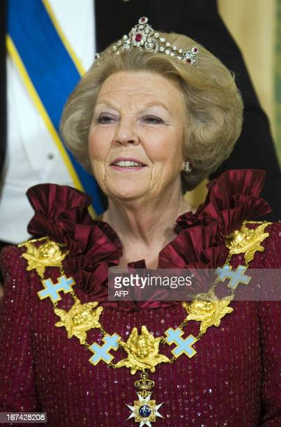 Dutch Queen Beatrix is pictured during the State Banquet in the Noordeinde Palace in The Hague on April 21, 2009. ANP/ROYAL IMAGES/LEX VAN LIESHOUT...