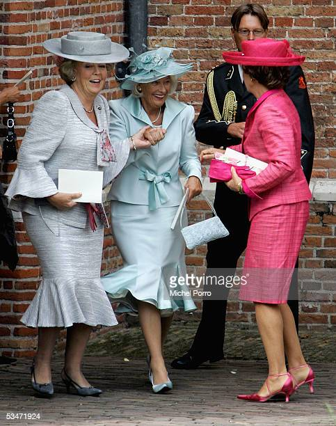 Dutch Queen Beatrix L the mother of Anita van Eijk and Princess Margriet leave the church after the wedding of Prince Pieter Christiaan and Anita van...