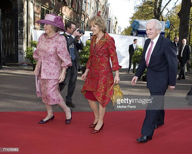 Dutch Queen Beatrix, Maria Carmen Cerruti and Jorge Zorreguieta, Princess Maxima's parents, arrive at the Kloosterkerk for the christening ceremony...