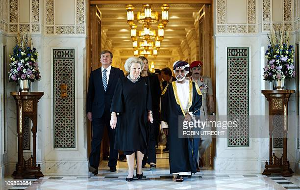 Dutch queen Beatrix meets sultan Qaboos in his royal palace in Muscat Oman on March 8 together with her son Prince WilemAlexander and his wife...