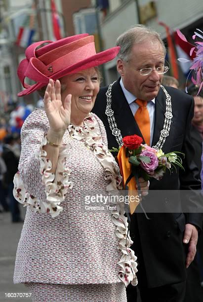 Dutch Queen Beatrix of the Netherlands attends the traditional Queens Day celebrations on April 30 2005 in Scheveningen Netherlands