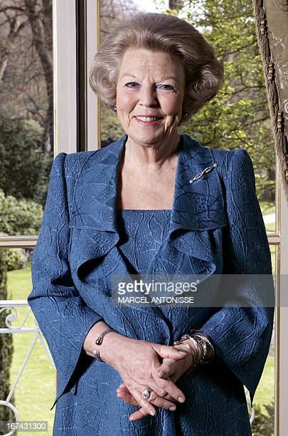 Dutch Queen Beatrix poses for photographers 24 April 2005 at the Huis ten Bosch Palace in the Hague Beatrix will celebrate 25 years on the trone 29...
