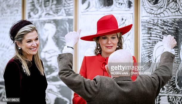 Dutch Queen Maxima and Belgian Queen Mathilde visit the Cobra Museum in Amstelveen The Netherlands on November 29 2016 / AFP / ANP / Robin van...