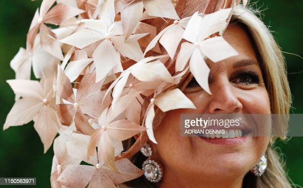 Dutch Queen Maxima arrives on day one of the Royal Ascot horse racing meet in Ascot west of London on June 18 2019 The fiveday meeting is one of the...