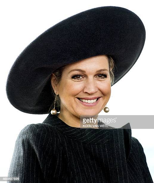 Dutch Queen Maxima arrives to attend the opening of Lely Campus in Maassluis on January 30 2014 The company works on innovative and futureoriented...