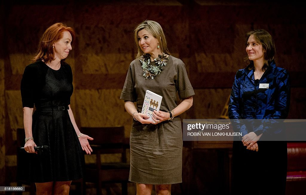 Dutch Queen Maxima attends a symposium for music education in the Conservatory in Amsterdam, on March, 30 2016. / AFP / ANP / Robin van Lonkhuijsen / Netherlands OUT