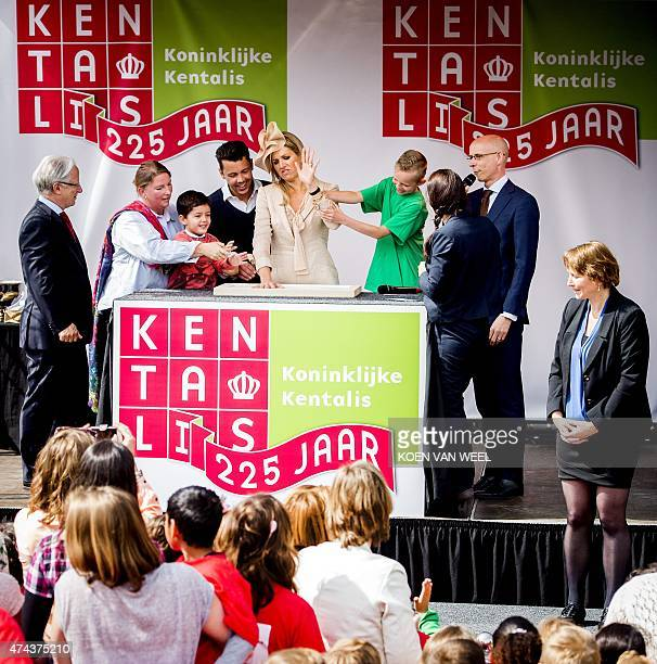 Dutch Queen Maxima attends the grand opening of the Zorg Onderwijs Centrum van Koninklijke Kentalis in Zoetermeer on May 22 2015 Kentalis is national...