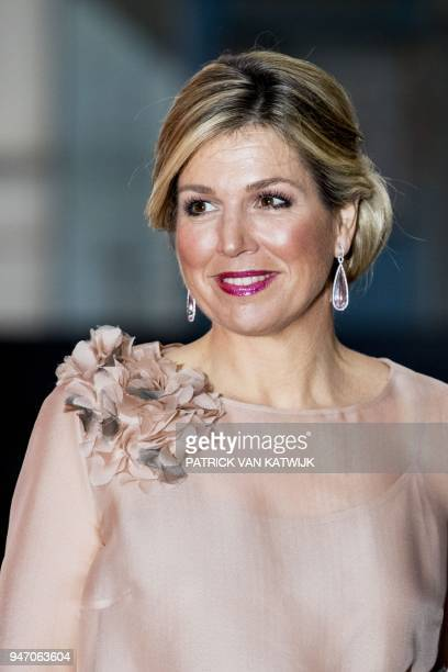Dutch Queen Maxima attends the premiere of the musical The Color Purple at the NDSM Warehouse in Amsterdam on April 16 2018 Based on the 1982 novel...