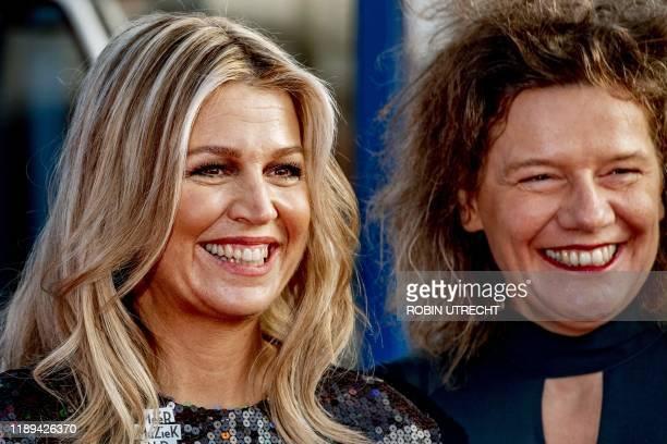 Dutch Queen Maxima , honorary chairwoman of Meer Muziek in de Klas , poses with chairwoman Carolien Gehrels during the Christmas Music Gala 2019 in...