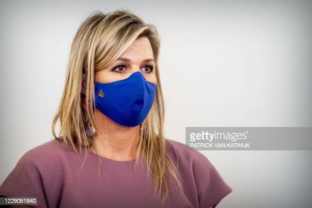 Dutch Queen Maxima hosts a small group involved in the pact Towards a debt-free Netherlands at Noordeinde Palace in The Hague on October 13, 2020. /...