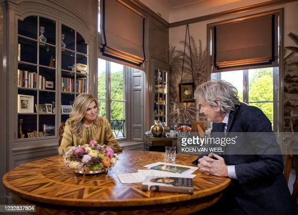 Dutch Queen Maxima is interviewed by Matthijs van Nieuwkerk on the occasion of her 50th birthday in The Hague on May 7 at the queen's office at Huis...