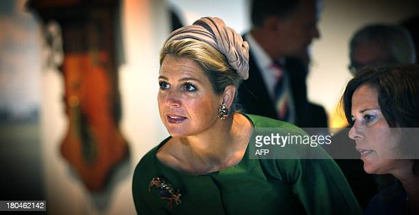 Dutch Queen Maxima is pictured during the official opening of the new Fries Museum in Leeuwarden on September 13 2013 The realization of this museum...