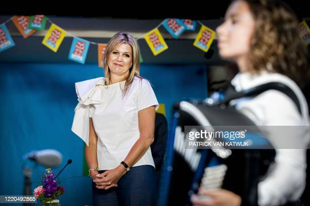 Dutch Queen Maxima is presented as honorary chairperson of the More Music in the Classroom foundation at the Alcazar party center in Puttershoek, on...