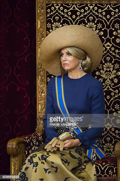 Dutch Queen Maxima sits on the throne in the Ridderzaal during the 'Prinsjesdag' in The Hague on September 20 2016 Prince's Day is the traditional...