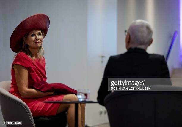 Dutch Queen Maxima speaks with members and volunteers during the opening of the annual breast cancer month during a meeting on the occasion of the...