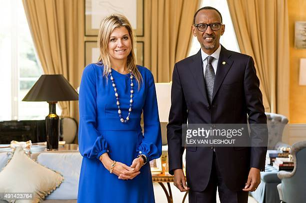 Dutch Queen Maxima UN special advocate for Inclusive Finance for Development poses with Rwanda's president Paul Kagame at the King's residence De...