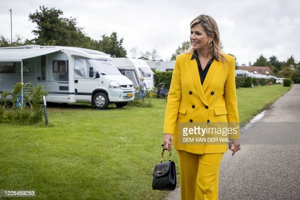 Dutch Queen Maxima visits a camping in Oostkapelle, on July 8, 2020. / Netherlands OUT
