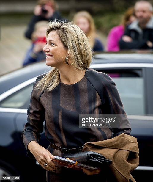 Dutch Queen Maxima visits Power Play in Warffum The Netherlands on November 6 one of the participants of Kinderen Maken Muziek a cooperation of a...
