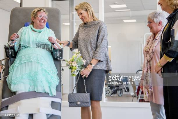 Dutch Queen Maxima visits the Multiple Sclerosis expertise centre New Unicum in Zandvoort on April 11 2018 The multidisciplinary treatment centre...