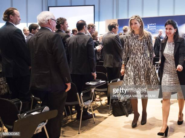 Dutch Queen Maxima walks as she attends the opening of the third edition of the Impact Summit Europe 2017 an international meeting on investment...