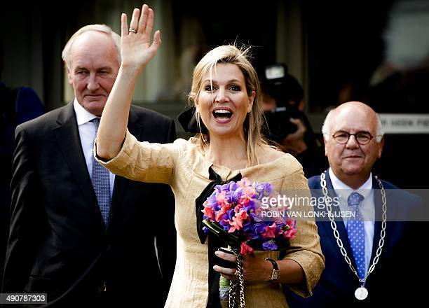 Dutch Queen Maxima waves as she leaves the De Bolder elderly home after she attended a piano concert in honor of the 'Music in the House' foundation...