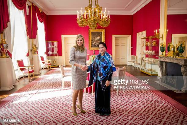 Dutch Queen Maxima welcomes Nguyen Thi Kim Ngan chairwoman of the National Assembly of Vietnam at the Palace Noordeinde in The Hague on March 26 2018...