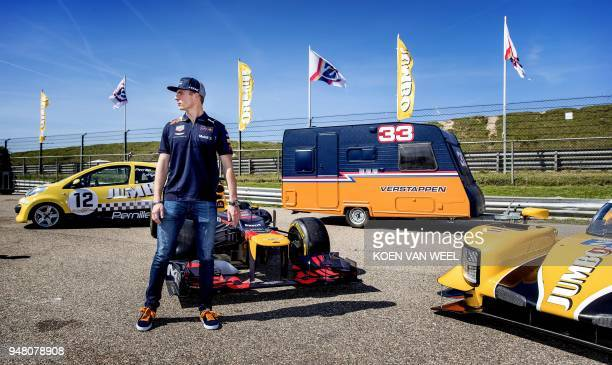 Dutch racing driver Max Verstappen attends the presentation of the program of the third edition of the Jumbo Racedays in Zandvoort on April 18 2018 /...