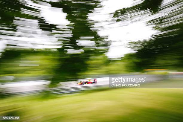 Dutch racing driver Max Verstappen of team Red Bull makes his way through the track during the qualifying session for the Canadian Formula 1 Grand...