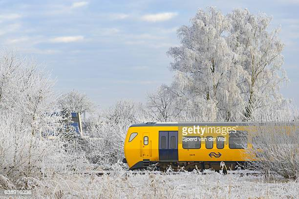 "dutch railways commuter train driving through a frozen winter landscape - ""sjoerd van der wal"" photos et images de collection"