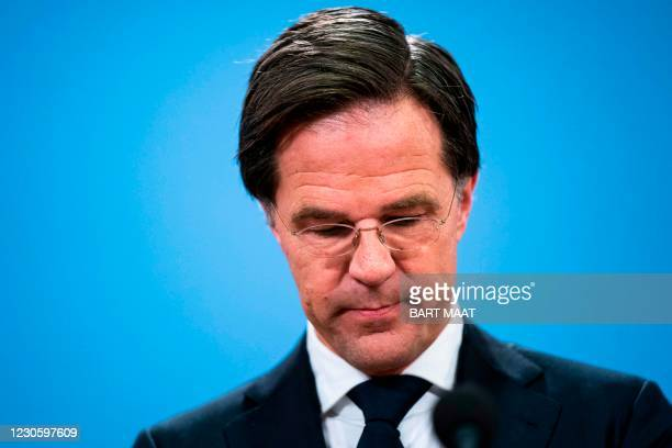 Dutch resigning Prime Minister Mark Rutte gives a press conference in The Hague, on January 15 after the resignation of the cabinet due to the...