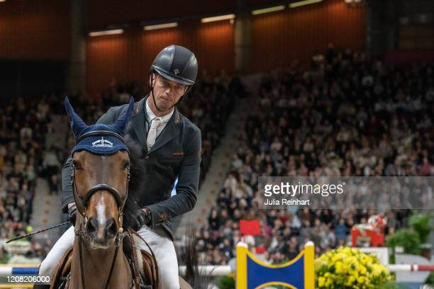 Dutch rider Harrie Smolders on Monaco competes in the FEI World Cup Jumping event during the Gothenburg Horse Show at Scandinavium Arena on February...