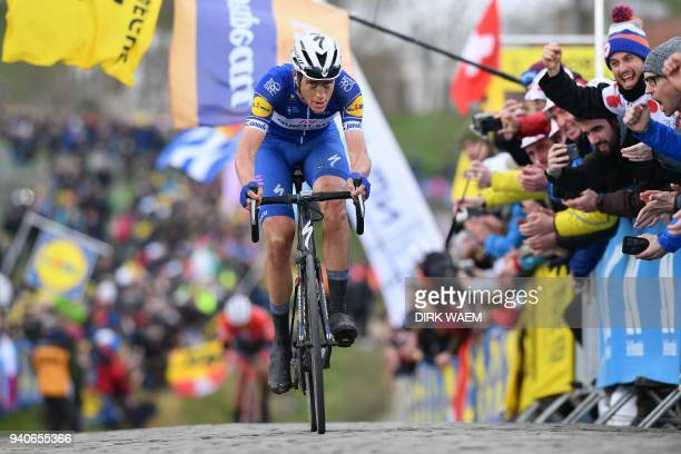 Dutch rider Niki Terpstra of team Quick-Step Floors pedals during the 102nd edition of the 'Ronde van Vlaanderen - Tour des Flandres - Tour of...