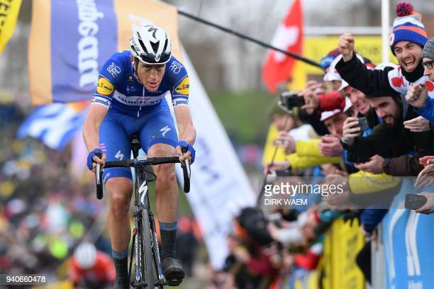 Dutch rider Niki Terpstra of team Quick-Step Floors pedals on his way to winning the 102nd edition of the 'Ronde van Vlaanderen - Tour des Flandres -...