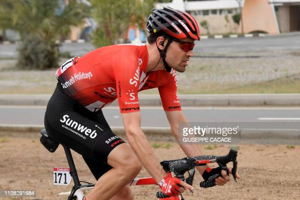 Dutch rider Tom Dumoulin of team Sunweb competes during the sixth stage of the UAE tour between Ajman and Jebel Jais on March 1 2019