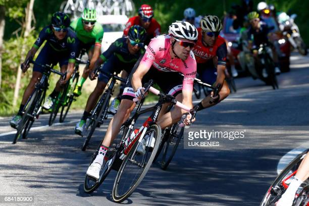 Dutch rider Tom Dumoulin of team Sunweb rides during the 11th stage of the 100th Giro d'Italia Tour of Italy cycling race from Florence to Bagno di...