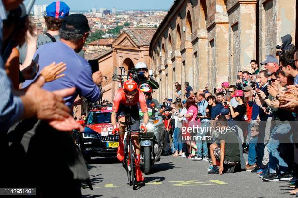 Dutch rider Tom Dumoulin rides in the ascent of San Luca during the first stage of the 2019 Giro d'Italia, the cycling Tour of Italy, an 8-kilometer...
