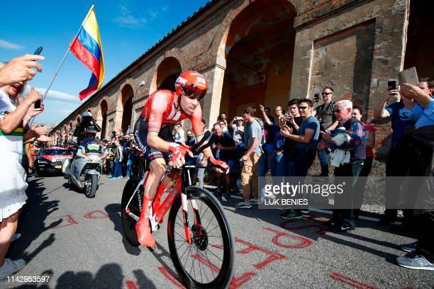 Dutch rider Tom Dumoulin rides in the ascent of San Luca during the first stage of the 2019 Giro d'Italia the cycling Tour of Italy an 8kilometer...