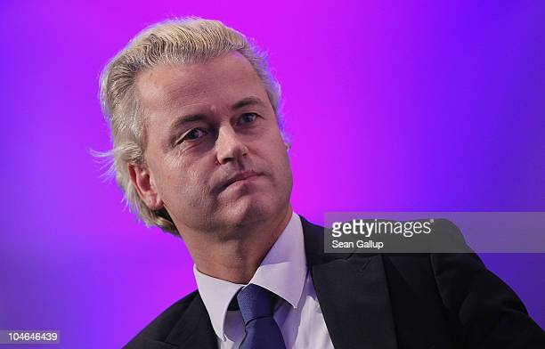 Dutch rightwing politician Geert Wilders arrives to speak to supporters on October 2 2010 in Berlin GermanyWilders came on the invitation of German...