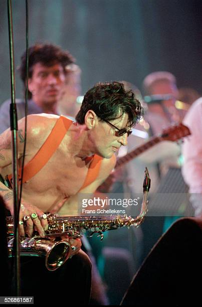 Dutch Rock singer Herman Brood performs with David Hollestelle on July 16th 1999 at the North Sea Jazz Festival in the Hague, Netherlands.