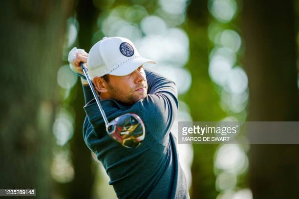 Dutch Rowin Caron plays on the first day of the KLM Open in Cromvoirt, The Netherlands, on September 16, 2021. - The 101st edition of the...