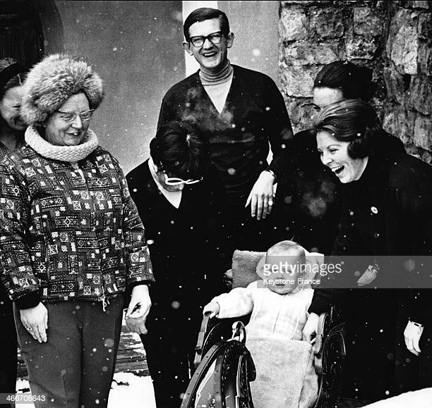 Dutch Royal Family spending winter holiday in Austria with Queen Juliana, daugher Princess Beatrix and son Prince Willem Alexander on March 4, 1968...