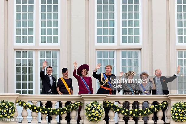 dutch royal family waving to the crowd - prinsjesdag stock photos and pictures